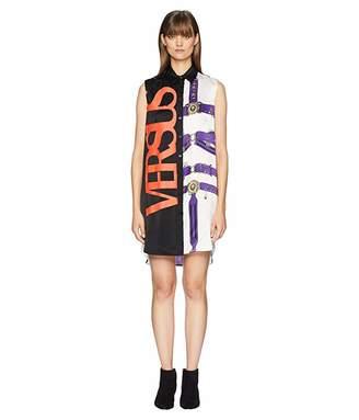 Versace Abito Donna Tessuto Satmpato Shirtdress