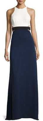Halston Sleeveless High-Neck Colorblocked Gown w/ Cutouts