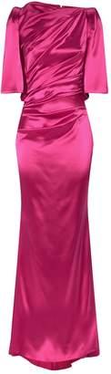 Talbot Runhof High-Neck Ruched Gown