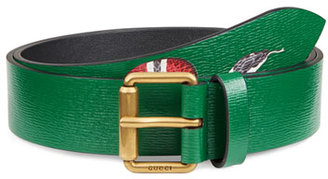 Gucci Snake-Print Leather Belt, Green $420 thestylecure.com