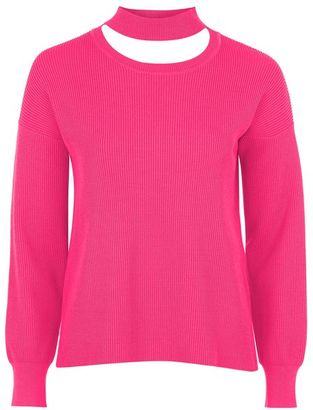 Topshop Choker crew neck knitted sweater $85 thestylecure.com