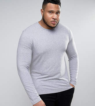 Asos Plus Muscle Long Sleeve T-Shirt With Crew Neck In Grey Marl