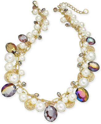 """Charter Club Gold-Tone Coin, Bead & Imitation Pearl Collar Necklace, 17"""" + 2"""" extender"""