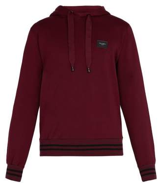 Dolce & Gabbana - Logo Patch Cotton Hooded Sweatshirt - Mens - Burgundy