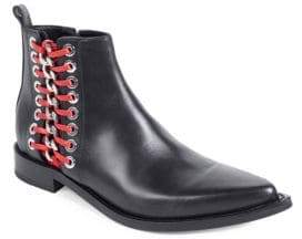 Alexander McQueen Chain-Trim Leather Booties