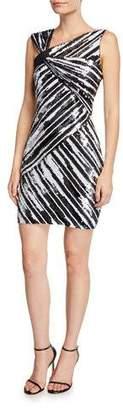 Parker Black Kensington Sequin Striped Asymmetric Mini Dress