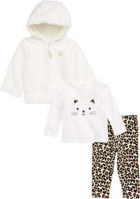 Little Me Faux Fur Hoodie, Tee & Leggings Set