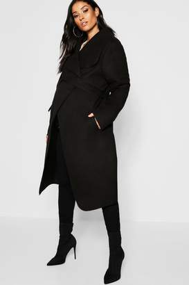 boohoo Maternity Wool Look Wrap Front Coat