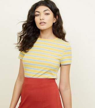 New Look Mustard Stripe Ribbed T-Shirt