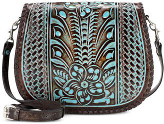 Patricia Nash Savini Turquoise Tooled Leather Saddle Bag