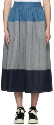 Visvim Blue and White Elevation Skirt