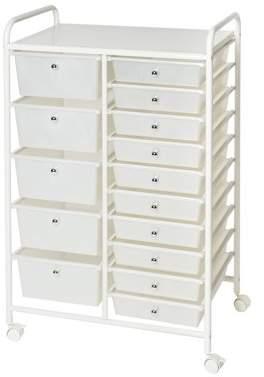 Seville Classics 15-Drawer Organizer Cart, White