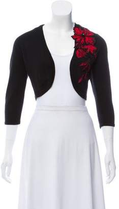 Oscar de la Renta Lightweight Cashmere Embroidered Shrug