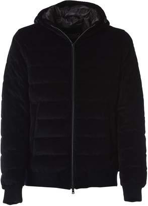 Herno Hooded Padded Jacket In Blue Curduroy