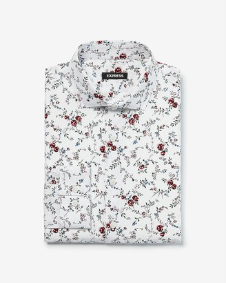 Express Slim Floral Pattern Dress Shirt