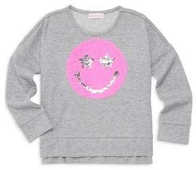 Design History Little Girl's Sequin Smiley Sweater