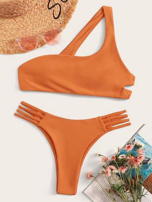 Shein One Shoulder Top With Ladder Cut-out Bikini Set