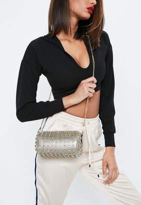 Missguided Gold Diamante Oval Stud Cross Body Bag, Gold