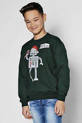 Mens Boys Robot Christmas Sweatshirt in Green size 7-8Yrs