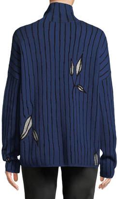 Christian Wijnants Kamran Turtleneck Stripe & Floral Jacquard Sweater