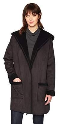 Three Dots Women's Faux Shearling Loose Long Coat
