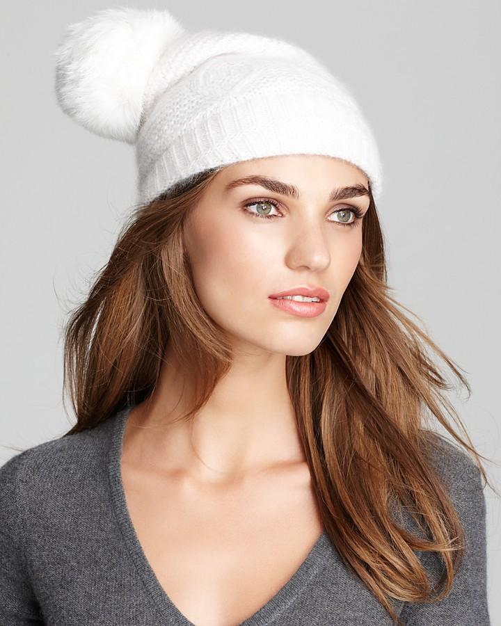 Surell Knit Hat With Rabbit Pom
