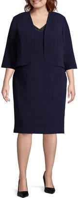 MAYA BROOKE Maya Brooke Long Sleeve Beaded Jacket Dress - Plus