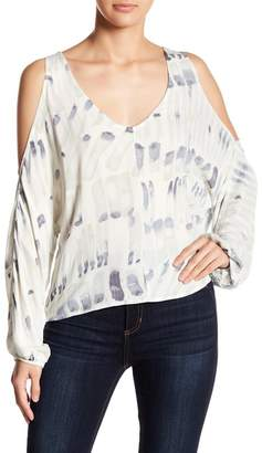 Love Stitch Long Sleeve Cold Shoulder Print Blouse
