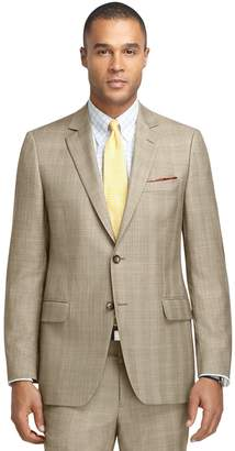 Brooks Brothers Fitzgerald Fit Brown Plaid with Blue and Gold Deco 1818 Suit