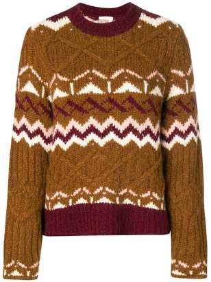 See by Chloe chunky knit patterned jumper