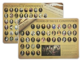 Painless Learning Declaration of Independence Signers + US Constitution Signers: Laminated Placemats (2) by Painless Learning
