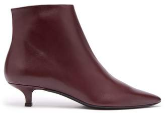 The Row Coco Point Toe Leather Ankle Boots - Womens - Burgundy
