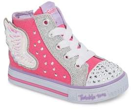 Skechers Twinkle Toes Shuffles Fooling Flutters Light-Up High Top Sneaker