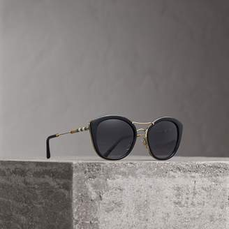 Burberry Check Detail Round Frame Sunglasses, Black