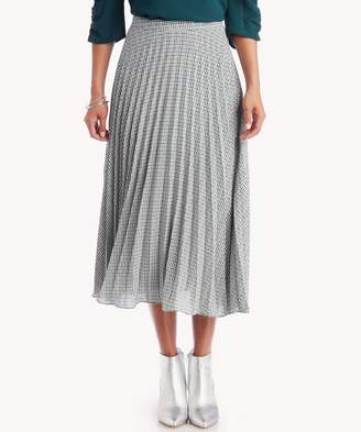 Sole Society Fine Puppytooth Pleated Midi Skirt