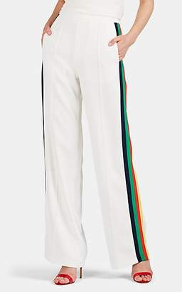 Lisa Perry Women's Striped Crepe Wide-Leg Trousers - White