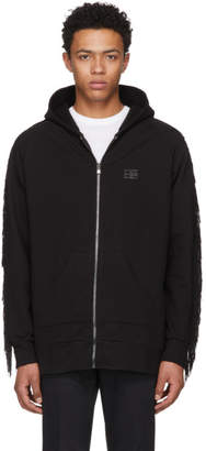 Baja East Black Beaded Fringe Zip Hoodie
