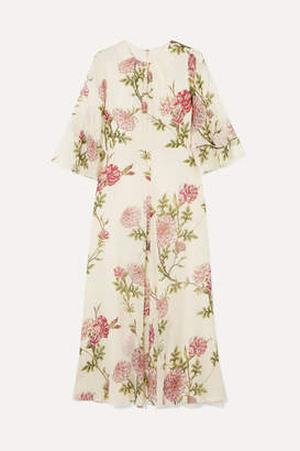 Giambattista Valli Ruffled Floral-print Silk-chiffon Midi Dress - Ivory