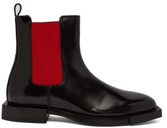 Alexander McQueen Hybrid Patent Leather Chelsea Boots - Womens - Black Red