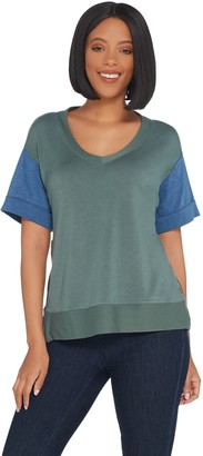 Peace Love World French Terry Short Sleeve Top w/ Zippers