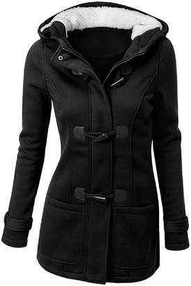 iBaste Women Upgraded Winter Outdoor Warm Trench Wool Blended Pea Coat Hooded Jacket