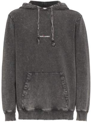 Saint Laurent distressed logo hoodie
