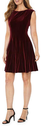 Danny & Nicole Sleeveless Velvet Fit & Flare Dress