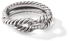 David Yurman Crossover Sterling Silver& Diamond Cable Loop Ring