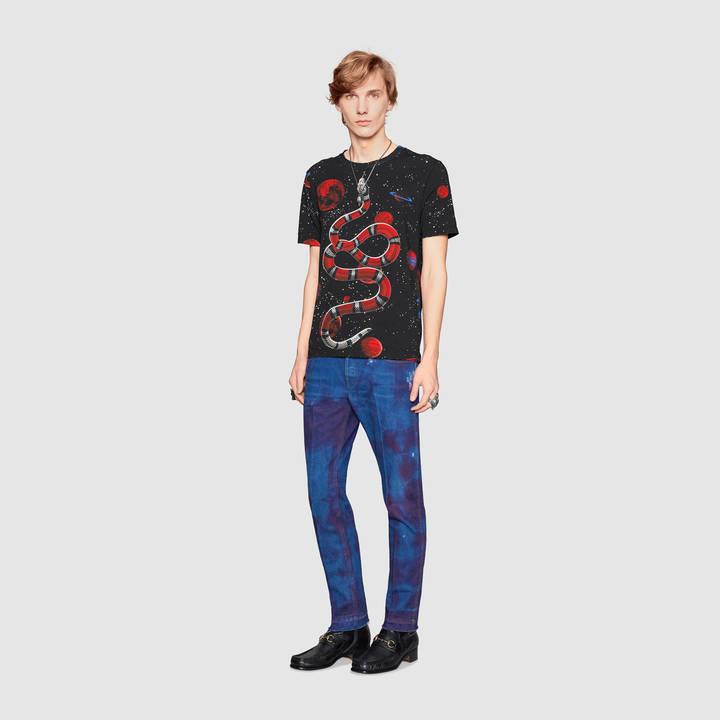 Cotton tie-dye t-shirt with Gucci print 3