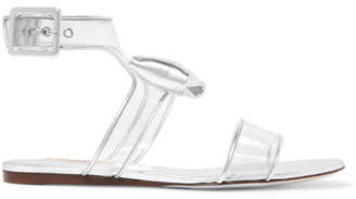 Valentino Garavani Moonwalk Bow-embellished Metallic Leather And Pvc Sandals - Silver