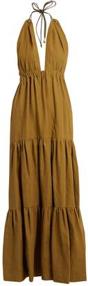 ON THE ISLAND Halterneck tiered linen maxi dress