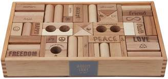 story. Wooden Peace & Love Wooden Blocks, 72 Pieces