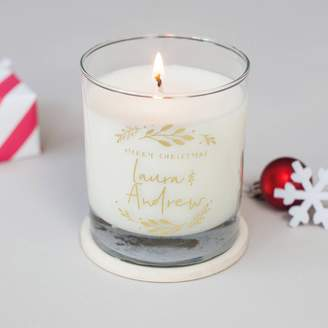 Little Cherub Design Merry Christmas Candle
