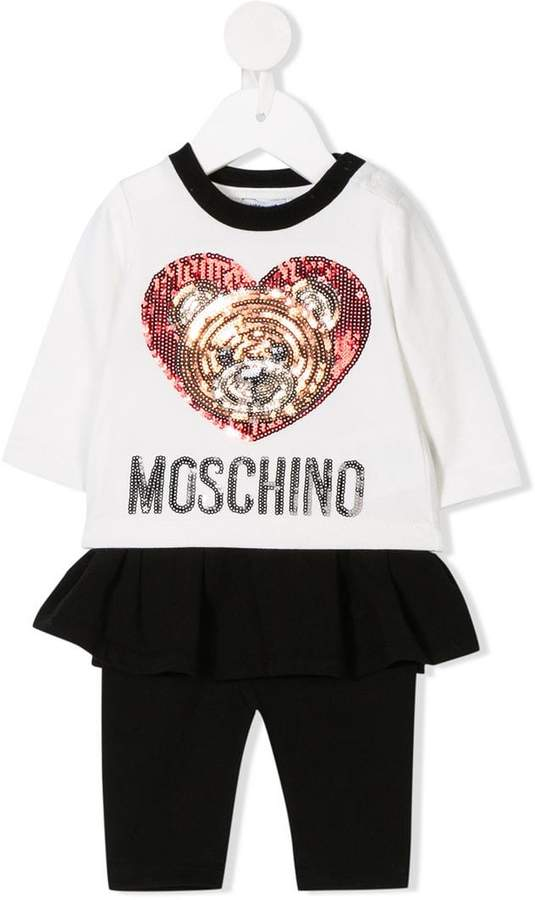 Moschino Kids sequin logo T-shirt and leggings set